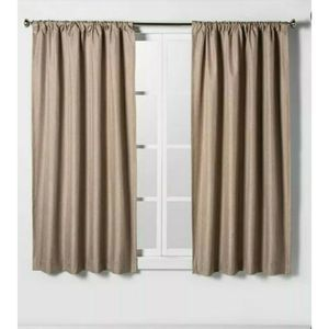"NEW!! (2) Tan Room-Darkening Curtain Panels 63"""